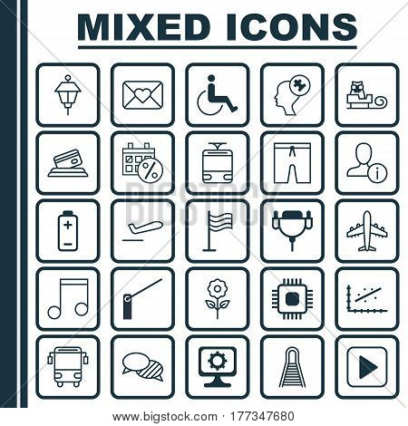 Set Of 25 Universal Editable Icons. Can Be Used For Web, Mobile And App Design. Includes Elements Such As Swimming Clothes, Profile Data, Sleigh And More.