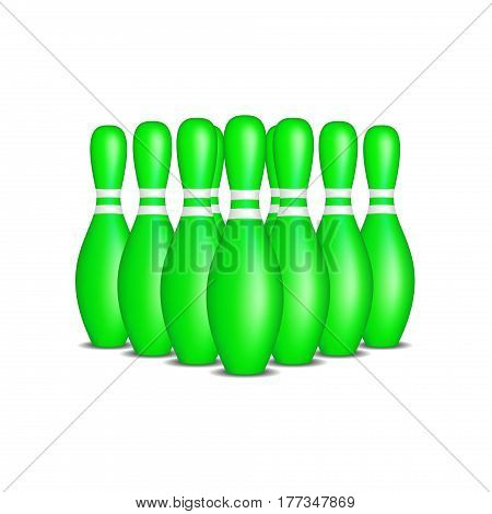 Bowling pins in green design with white stripes standing in formation on white background