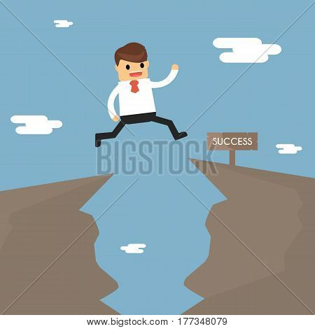 Businessman Jump Through The Gap In The Rocks. The Concept Of Business Success