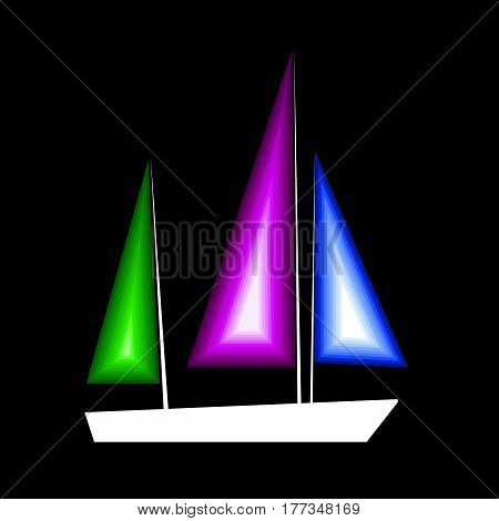 sailfish ship boat vector illustration ocean sea travel drawing design anchor