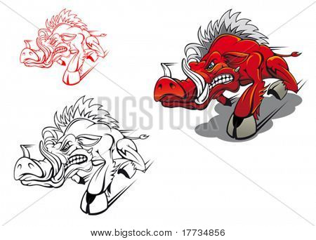 Wild running boar as a tattoo or mascot poster