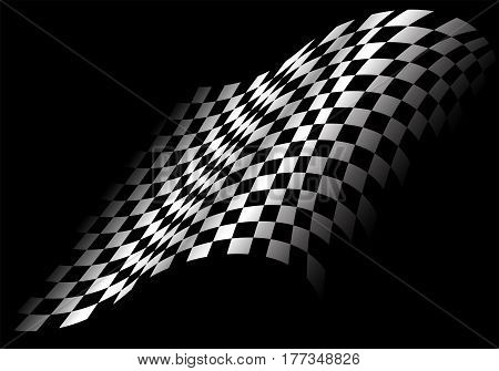 Checkered flag flying in black design for race background vector illustration.