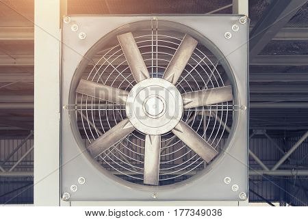 Steel fan on steel structure for ventilation system and air conditioner system of factory building.