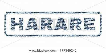 Harare text textile seal stamp watermark. Blue jeans fabric vectorized texture. Vector caption inside rounded rectangular banner. Rubber sign with fiber textile structure.