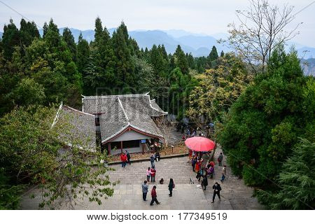 People Visit The Pagoda In Zhangjiajie, China