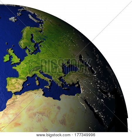 Emea Region On Model Of Earth With Embossed Land
