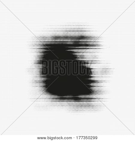 Abstract vector glitched halftone stain. Black blot made of round particles. Modern illustration with dark distorted spot. Splattered array of dots. Gradation of tone. Element of design.