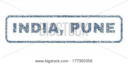 India Pune text textile seal stamp watermark. Blue jeans fabric vectorized texture. Vector caption inside rounded rectangular shape. Rubber emblem with fiber textile structure.