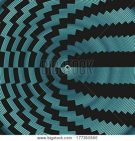 Colorful dark hypnotic illustration. Multiple psychedelic outline arcs. Concentric round geometric composition. Asymmetric curved lines of different color radius and weight. Element of design.