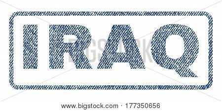 Iraq text textile seal stamp watermark. Blue jeans fabric vectorized texture. Vector caption inside rounded rectangular banner. Rubber sticker with fiber textile structure.