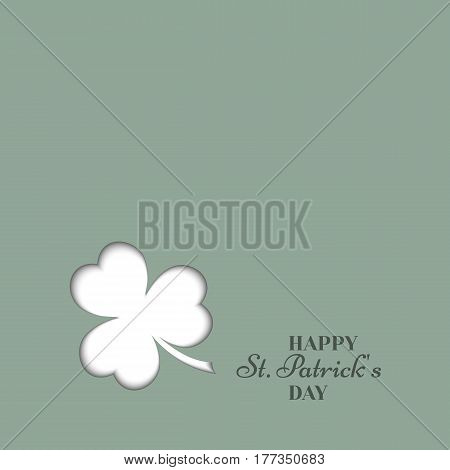 Shamrock clover, cut paper with shadow.Banner or background St. Patrick