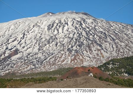 cone volcano Mount Etna the highest volcano in Europe, Sicily