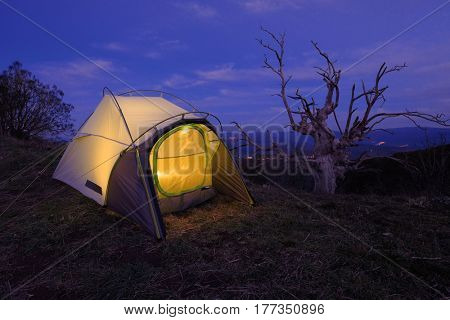 illuminated tent and dead tree in Etna Park, Sicily