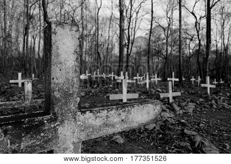 Tombstone graves with crosses in old cemetery black and white.