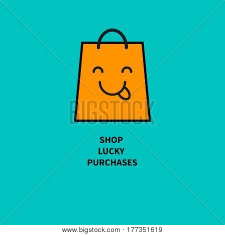 Happy bag. Store logo. Card wish of buyer. Vector illustration