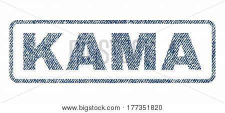 Kama text textile seal stamp watermark. Blue jeans fabric vectorized texture. Vector caption inside rounded rectangular banner. Rubber sticker with fiber textile structure.