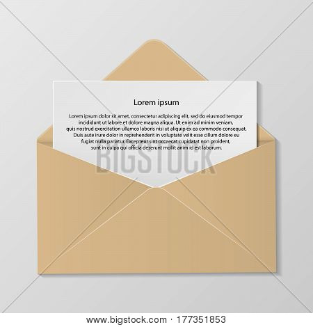 Open Colour Envelope With Invitation Card Realistic Mockup Isolated Eps 10