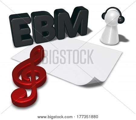 ebm tag blank white paper sheet and pawn with headphones - 3d rendering