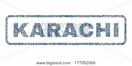 Karachi text textile seal stamp watermark. Blue jeans fabric vectorized texture. Vector caption inside rounded rectangular shape. Rubber sticker with fiber textile structure.