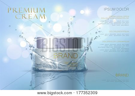 Premium VIP cosmetic ads, hydrating luxury facial cream for sale. Elegant soft color cream mask bottle isolated on glitter sparkles with pearls, gloss effect. 3D realistic vector illustration.