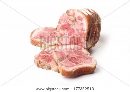 meat loaf on a white background. delicious breakfast. beef, pork