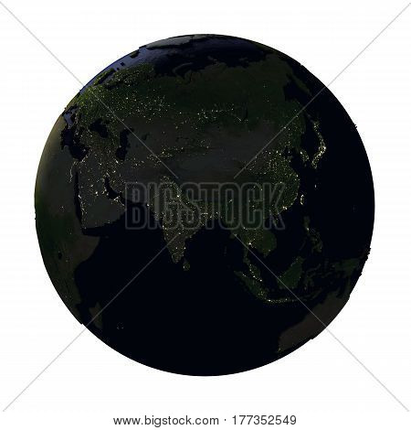 Asia On Earth At Night Isolated On White