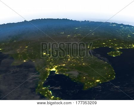 Indochina At Night On Planet Earth