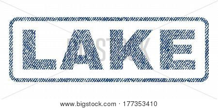 Lake text textile seal stamp watermark. Blue jeans fabric vectorized texture. Vector caption inside rounded rectangular banner. Rubber sticker with fiber textile structure.