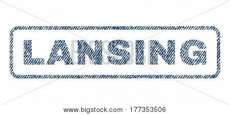 Lansing text textile seal stamp watermark. Blue jeans fabric vectorized texture. Vector caption inside rounded rectangular shape. Rubber emblem with fiber textile structure.
