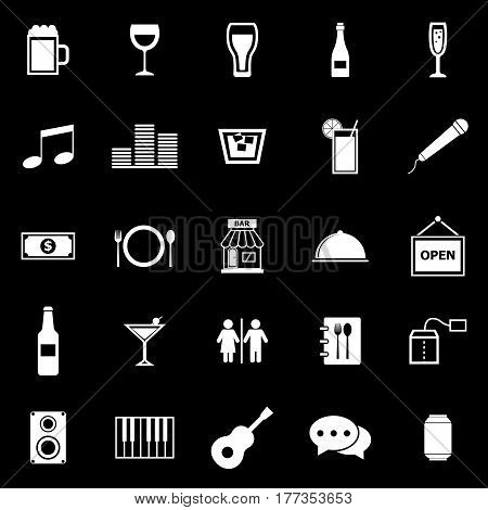 Bar icons on black background, stock vector