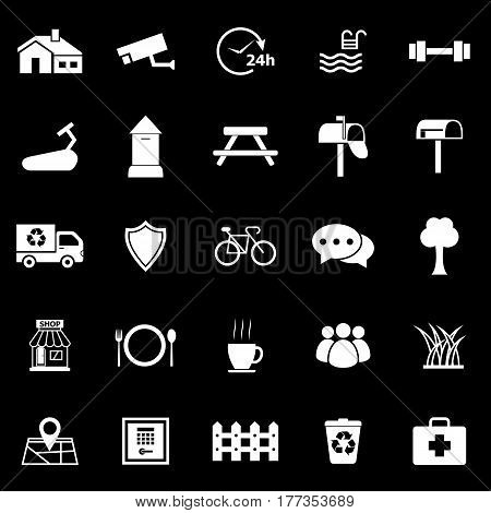 Village icons on black background, stock vector