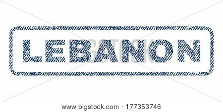 Lebanon text textile seal stamp watermark. Blue jeans fabric vectorized texture. Vector caption inside rounded rectangular banner. Rubber sign with fiber textile structure.