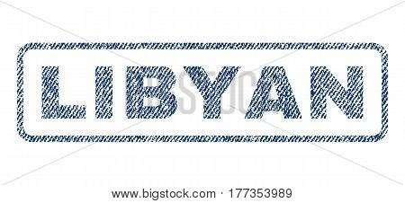 Libyan text textile seal stamp watermark. Blue jeans fabric vectorized texture. Vector tag inside rounded rectangular banner. Rubber emblem with fiber textile structure.