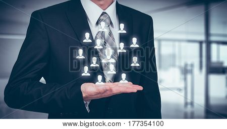 Customer care insurance care for employees human resources employment agency and marketing segmentation concepts. Leader manage his team