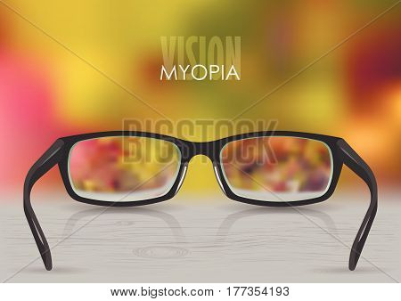 Vector illustration on the theme of myopia, vision. Black stylish realistic glasses close-up on a background of blurred autumn gradient mesh. For poster, adv, web template.