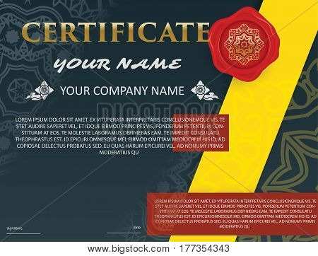 certificate template with luxury patterndiplomaVector illustration Thai style