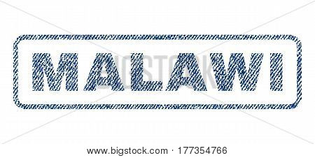 Malawi text textile seal stamp watermark. Blue jeans fabric vectorized texture. Vector caption inside rounded rectangular banner. Rubber emblem with fiber textile structure.