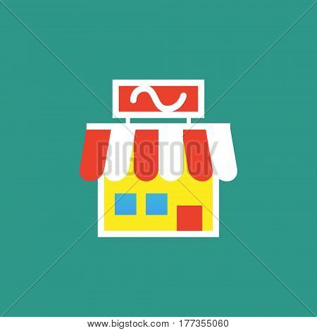 Vector icon or illustration showing business as store building in outline style