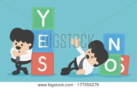 Risk management. Business concept cartoon illustration yes or no