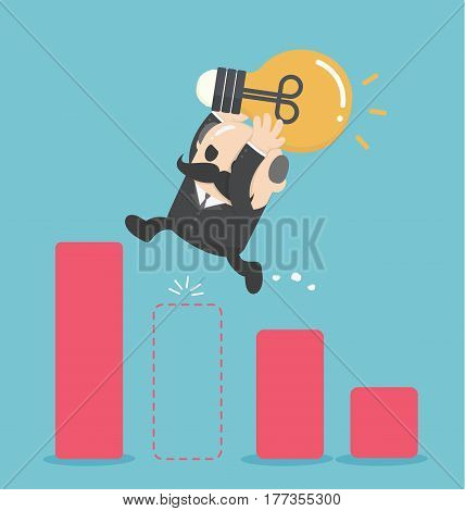 illustration Businessman Jump Through The Gap In Growth Chart