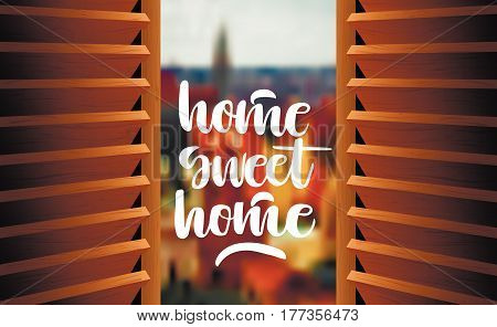 Vector illustration. Semi-open wooden shutters with blurry panorama on the background and hand-written letters
