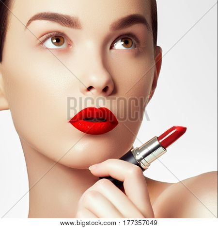 Cosmetics And Makeup. Perfect Lip Makeup. Fashion Model