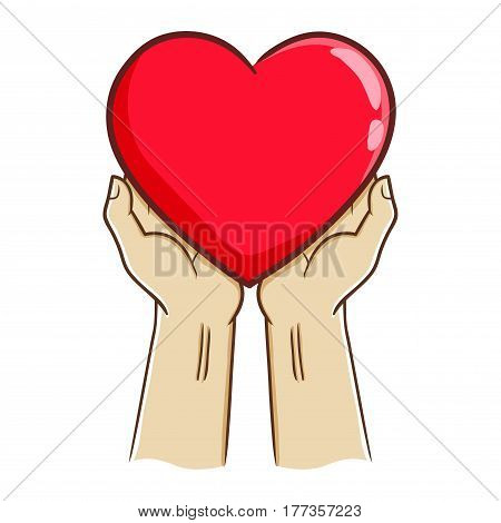 Vector stock of two hand holding big red heart love symbol