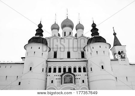 The Holy Gate and the Church of the Resurrection  in Rostov Kremlin in winter, Russia