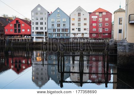 Old Town Of Trondheim, Norway