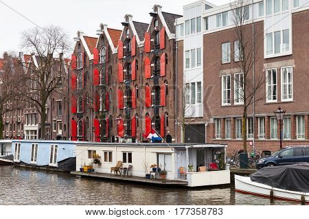 Canal Of Amsterdam, Netherlands. Street