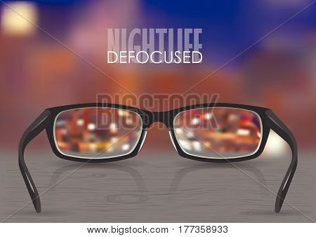 Vector illustration on the theme of myopia, vision. Black stylish realistic glasses close-up on a background of blurred night city with lights on gradient mesh. For poster, adv, web template.Vector illustration on the theme of myopia, vision. Black stylis