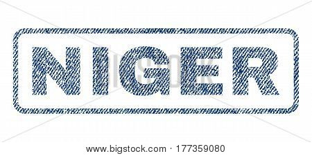 Niger text textile seal stamp watermark. Blue jeans fabric vectorized texture. Vector tag inside rounded rectangular shape. Rubber emblem with fiber textile structure.
