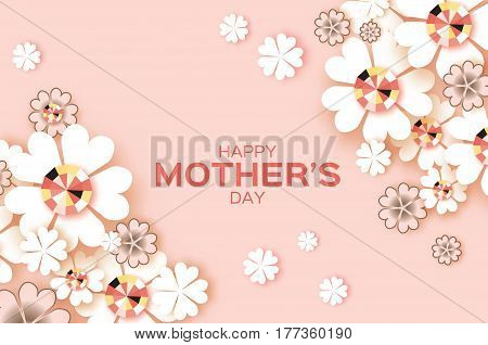 Pastel Flower Greeting card with Brilliant stones. Happy Mothers Day. International Women's Day with Paper cut Floral holiday. Beautiful bouquet. Space for text. Vector illustration.