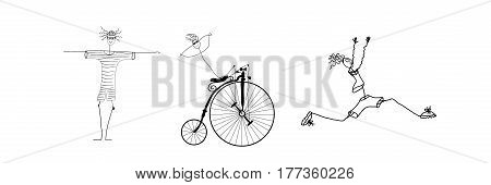 triathlon  comic emblem, swim, run, bike. Sketch.